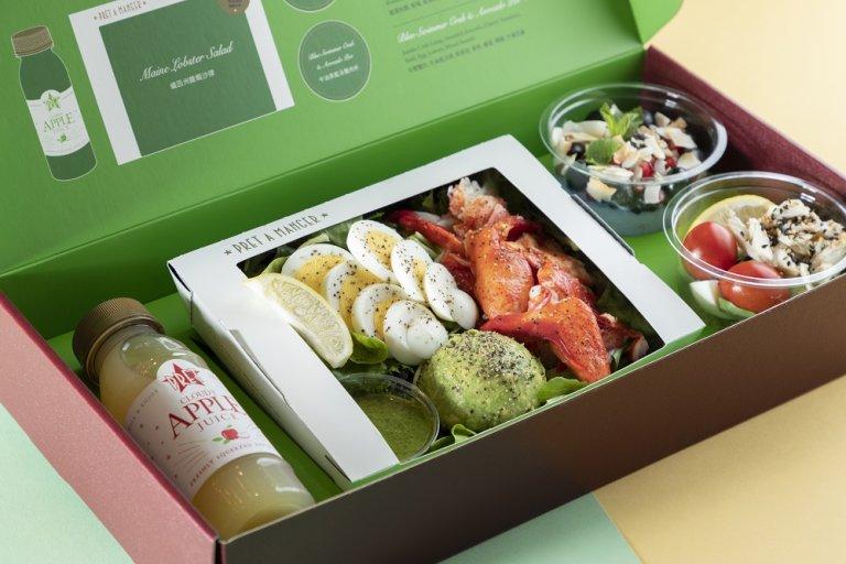 一盒入面有:緬因州龍蝦沙律、牛油果藍泳蟹肉營養杯、藍藻香脆麥片乳酪及鮮蘋果汁,健康又有營。