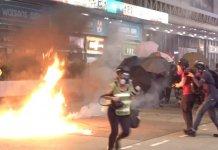 【示威不止】九龍多區暴力示威及縱火 多人受傷