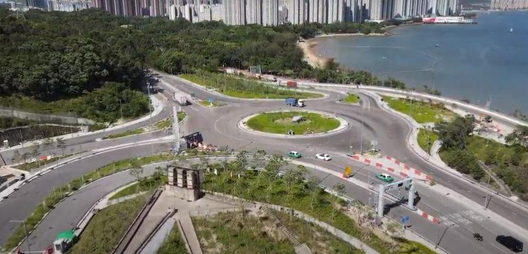 屯門至赤鱲角北面連接路屯門入口設有迴旋處。(陳恒鑌 facebook 影片截圖)