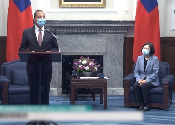 美國衞生部長阿薩爾(Alex Azar),抵台與蔡英文交流防疫合作事宜。(互聯網)