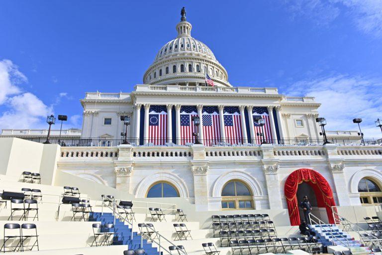 美國總統就職典禮會場正作最後準備。﹙中新社﹚