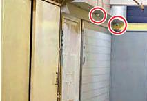 記協疑搞地下放映會的單位,門外安裝了多部 「天眼」 (紅圈示)監視。(大公報圖片)