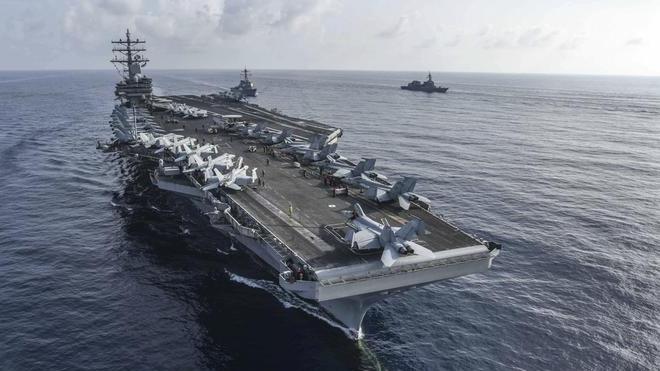 里根號率領的航空母艦戰鬥群已經進入南中國海,進行軍事演習(互聯網)