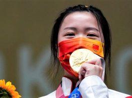 中國運動員楊倩10米氣步槍奪東奧第一金